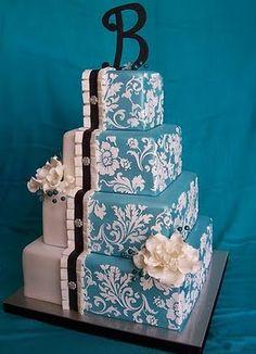 Blue and white damask wedding cake