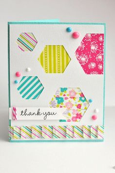 Thank You Card by Ginger Williams for Queen and Company..... NO patterned paper!.... it's all WASHI TAPE!