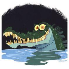 #tbt an old painting #gouache #illustration #cartoons #crocodile