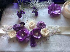 * Brau elegant, lila, mov si bej, cu perle. stamine, ciucure mov si dantela/ cordon elegant / curea rochie *