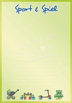 """Kindergarten Portfolio Vorlagen """"Sport & Spiel"""""""