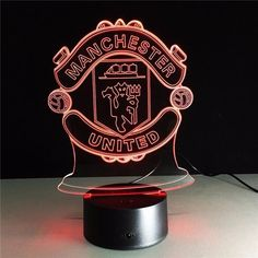 7 Colors - LED Night Light Lamp Decor for Manchester United FC fans – Footballaza Usb Lamp, Mood Lamps, Led Night Light, Night Lights, Night Lamps, Lampe Led, Manchester United, 3 D, The Unit