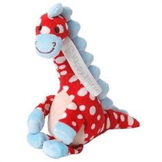 Dino Dario Baby Rattle -   A beautiful spotty dinosaur baby rattle has gorgeous soft blue feet. With a matching blue nose and spikes he has a soft rattle and is a loveable and cuddly dinosaur just waiting for a new best friend.