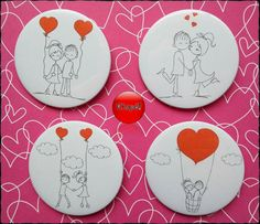 Con estos imanes pondrás el toque original a tu regalo de San Valentín. #chapó #chapaspersonalizadas #imanes #espejos #abrebotellas #sanvalentin