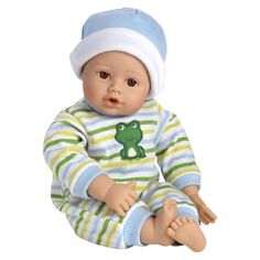 Adora PlayTime™ 13'' Baby Doll - Brown Open Close Eyes and Blue Green White Romper with Matching Hat