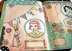 Some in progress pages...featuring our NEW Everyday is a Holiday art journal elements!  #vintage #bunny #pink #roses #bunting #flags #banner #girls #journaling #elements