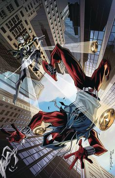 BEN REILLY SCARLET SPIDER #11 LEGLOS SLINGERS RETURN Parte 2 Después de estar en desacuerdo sobre cómo lidiar con el Hornet resucitado, ¡la Araña Escarlata y el Ricochet quedan fuera! Con sus reflejos, Spider-Sense y tecnología, Spidey tiene este tipo de golpe, ¿verdad?