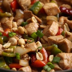 Kung pao chicken recipe with bell peppers, onions, lean white meat, and a spicy sauce that rivals authentic Chinese takeout! Chinese Chicken Recipes, Easy Chinese Recipes, Chicken Recipes Video, Meat Recipes, Asian Recipes, Cooking Recipes, Healthy Recipes, Recipe For Kung Pao Chicken, Bell Pepper Chicken Recipes