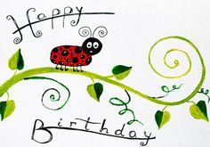 HAPPY BIRTHDAY ladybug images card Red green birthday by artbyasta