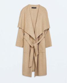Image 7 of LONG COAT from Zara  Zara Camel Long Wrap Coat