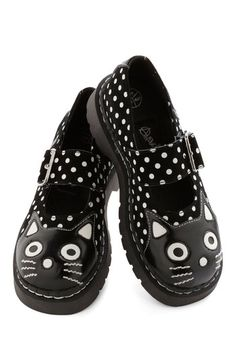 Here and Meow Shoe in Dots. Theres no moment in which youd rather be than this one, with your feet buckled in the wide straps of these dotted Mary Jane shoes! Cat Flats, Cat Shoes, Suede Flats, Sock Shoes, Shoe Boots, Shoe Bag, Black Ballet Shoes, Black Flats, Black Suede