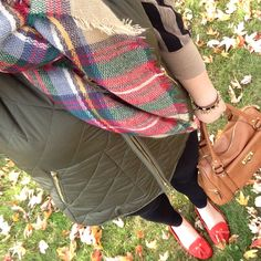 Plaid zara blanket scarf with vest and red loafers, fall fashion