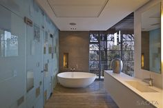 Frosted glass wall, sink fixture, integral sink, off-the-floor vanity. . . .