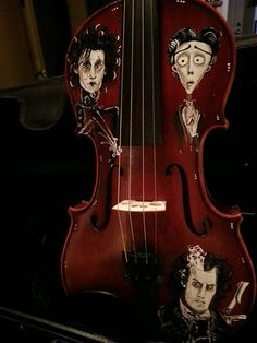 Hand Painted Johnny Depp Edward Scissorhands Sweeney Todd Corpse Bride Inspired Violin