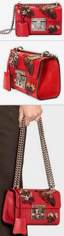 Strawberry and Bee Embroidered Padlock Small Shoulder-Bag, Red