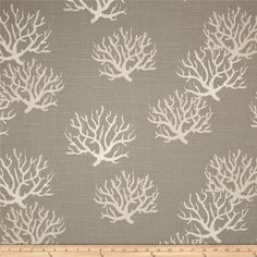End of Year Sale Premier Prints Isadella Coral Coastal Grey/Natural Slub - Pillow Covers - Multiple Sizes - Bottom Invisible Zipper Closure Coral Curtains, Printed Curtains, Fabric Shower Curtains, Drapes Curtains, Beach Curtains, Wall Fabric, Curtain Panels, Fabric Shop, Curtain Fabric