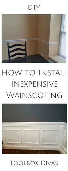 How to Install Picture Frame Moulding Wainscoting. Inexpensive DIY wainscoting idea solution to glam up any space. Determine wainscoting height and width. Home Improvement Center, Home Improvement Companies, Home Improvement Loans, Lowes Home Improvements, Home Improvement Projects, Wainscoting Height, Dining Room Wainscoting, Bathroom Wainscotting, Black Wainscoting