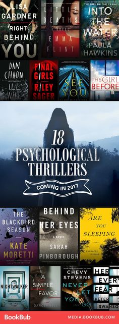 Chilling Psychological Thrillers Coming in 2017 Psychological thriller books to read this year. Includes titles from Lisa Gardner and Paula Hawkins.Psychological thriller books to read this year. Includes titles from Lisa Gardner and Paula Hawkins. Books And Tea, I Love Books, Good Books, My Books, Book Suggestions, Book Recommendations, Reading Lists, Book Lists, Reading Books
