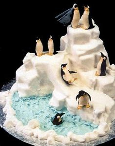 Penguin Wedding Cake by Mike's Amazing Cakes. A little unusual for a wedding cake but unique. Gorgeous Cakes, Pretty Cakes, Cute Cakes, Amazing Cakes, Crazy Cakes, Fancy Cakes, Unique Cakes, Creative Cakes, Fete Emma