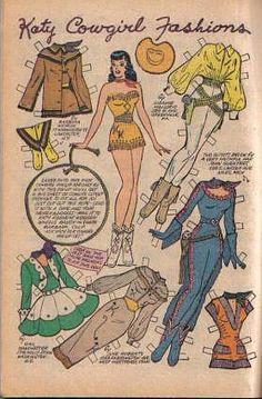 (⑅ ॣ•͈ᴗ•͈ ॣ)♡                                                 Fantastic Wild West inspired Katy Keene outfits from the mid-50s.