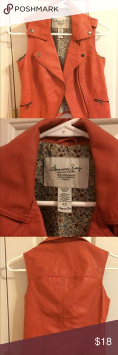 Size XS American Rag imitation leather vest Imitation leather vest with copper bottom detailing. Floral interior. Great condition. American Rag Jackets & Coats Vests