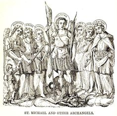 Archangel Michael and the other Archangels St Michael, Michael Gabriel, Seven Archangels, Old Boots, Archangel Michael, The Seven, Bible Art, Modern Prints, Coloring Pages