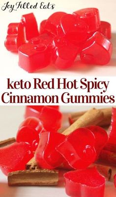 Red Hot Cinnamon Gummies - Keto, Low Carb, Sugar-Free - keto board - Spicy cinnamon has been a favorite flavor ever since I was a kid. When I found cinnamon oil I knew - Low Carb Candy, Keto Candy, Low Carb Sweets, Low Carb Desserts, Low Carb Recipes, Healthy Recipes, Free Recipes, Do It Yourself Food, Bon Dessert