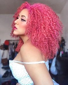 Curly Afro Hair, Curly Hair Styles, Natural Hair Styles, Peach Hair Dye, Pink Hair, Dyed Natural Hair, Dyed Hair, Afro Textured Hair, Colored Curly Hair