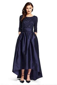 A-Line/Princess Jewel Floor-length High Low Hem Taffeta Mother of the Bride Dress