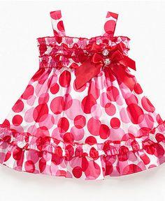 Nannette Baby Dress, Baby Girls Polka Dot Sundress