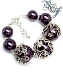 Chunky Purple Faux Pearl Bracelet