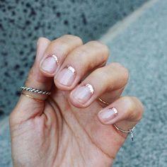 rose gold glitter minimalist nail design
