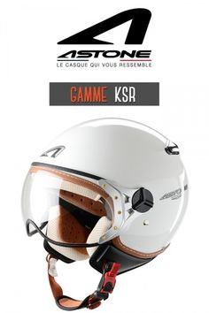 Casque moto Jet Ksr blanc brillant marque Astone Helmets