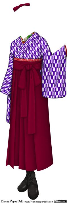 A kimono and hakama set with black leather boots. The kimono is white with a small geometrical design of purple arrowheads, and the inner co...
