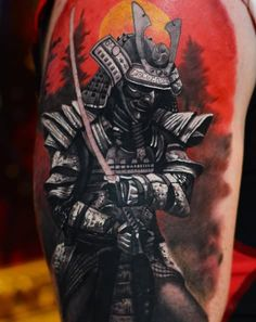 Realistic Samurai Warrior Tattoo On Right Half Sleeve