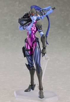 """""""One shot, one kill."""" From the globally popular multiplayer first-person shooter Overwatch® comes a figma of Widowmaker! The smooth yet posable figma joints allow you to act out a variety of different scenes. A flexible plastic is use. Overwatch Widowmaker, Anime Figures, Action Figures, Steampunk, Popular Toys, Tokyo Otaku Mode, Futuristic Art, Avengers, Costumes"""