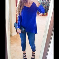 1day saleNWT Jersey Knit Tunic Beautiful high low top with long sleeves and sequins on the bottom of the sleeves. This top is the perfect fall staple and long enough to wear with leggings. Tops Tees - Long Sleeve