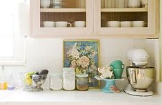 Paper Pony Country Living Collage: l-r- See Margaret, MidCentury Design, Kitsch Cafe, Kay Loves Vintage Candi Mandi Country Living Craft & Creativity There is nothing like a white backdrop to soothe and showcase colorful. Teal Kitchen, Kitchen Colors, Vintage Kitchen, Kitchen Ideas, Kitchen Redo, Pastel Kitchen, Eclectic Kitchen, Kitchen Dining, Dining Room