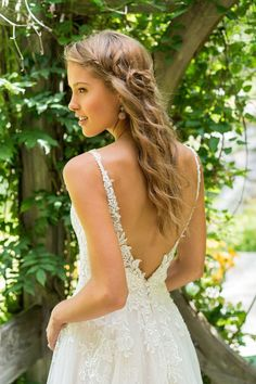 Available at Adore Bridal Boutique! www.adorebridalga.com Lillian West - Style 66025: Lace V-Neck A-Line Gown with Straps and Low V-back