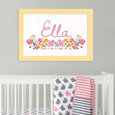 Baby Name Poster - Flowers
