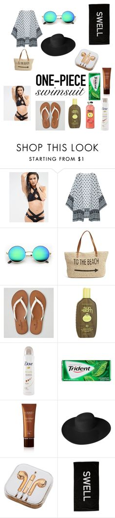 """Без названия #38"" by mashastar1011 ❤ liked on Polyvore featuring Quontum, Straw Studios, American Eagle Outfitters, Sun Bum, Dove, Christian Dior, Dorfman Pacific, PhunkeeTree, Swell and onepieceswimsuit"