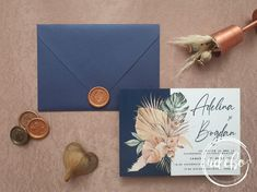 Invitatie nunta Palm & Navy Blue