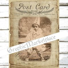 Children Shabby Postcard Clowns Pierrot by GraphicMarketplace