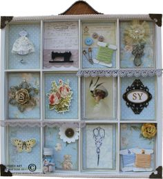Kottens corner: Other  My altered 7 Gypsies tray. A sewing contribution to my grandmother. Used Prima Botanical collection.