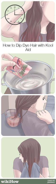 How to Dip Dye Hair with Kool Aid Wanna help me do this Tuesday? britlarocque I don't know what Kool Aid is but if you do, this is helpful!