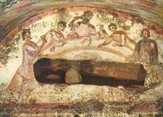 An agape meal from a catacomb fresco.
