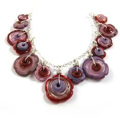 Glass necklace  Lampwork necklace one of a kind  by SariGlassman, $58.00