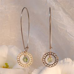 Lacy gold plated delicate long earring with Peridot By Kelka Jewelry