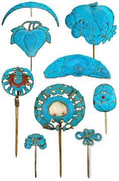 kingfisher feather hair ornaments, qing dynasty.