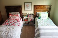 BeingBrook: Stripe Top Benches (Boy and Girl Shared Bedroom)